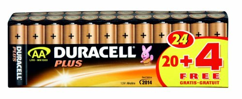 Duracell Batterie Plus Mignon AA 20er + 4 gratis Sonderpack (Duracell Aaa 20)