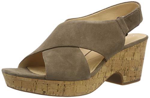 Clarks Damen Maritsa Lara Riemchensandalen, Grün (Olive Suede), 35.5 EU (Frauen-schuhe-komfort-heels)