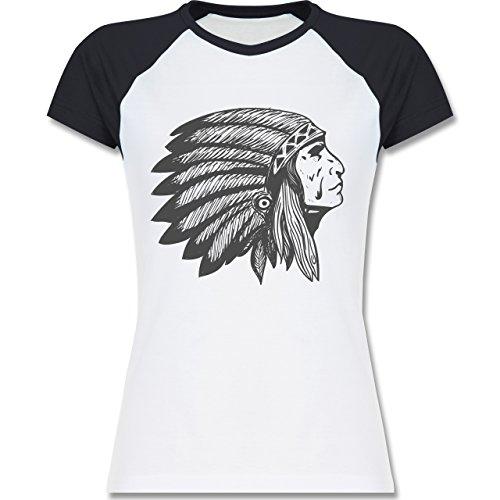 Shirtracer Boheme Look - Indianer Häuptling Handzeichnung - S - Weiß/Navy Blau - L195 - Zweifarbiges Baseballshirt/Raglan T-Shirt für Damen Weiße Indianer-häuptling Hat