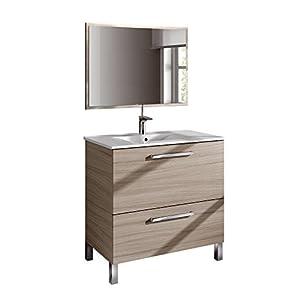 HABITMOBEL Mueble Lavabo + Espejo + Lavabo Ceramica,Mod Charles