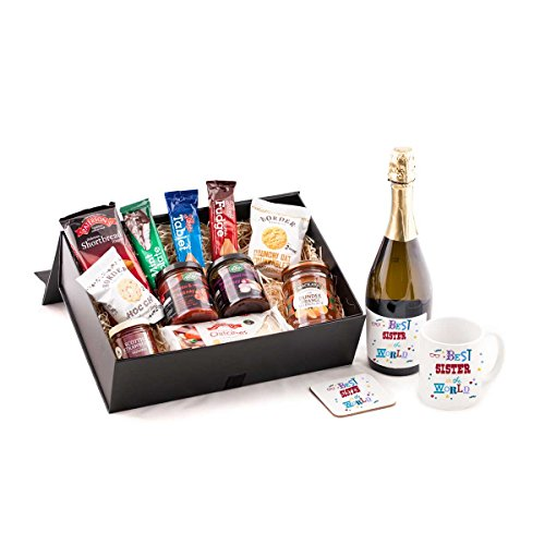 Best Sister in the World Prosecco Hamper - With sparkling prosecco wine. Great Birthday or Christmas present idea for your Sister from Scotland. Includes quality prosecco, and mug and coaster set - Best Sister in The World.