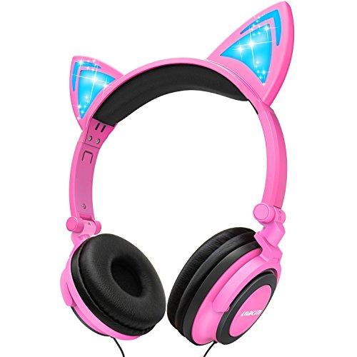 LOBKIN Auriculares para niños Auriculares con Cable Cat Auriculares con protección Limitada por Volumen con Puerto compartido para niños/niños