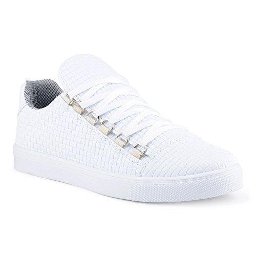 FiveSix Herren Sneaker Sportschuhe Schnürschuhe Muster Freizeitschuhe Low Top Schuhe Weiss EU 40 Jeezy Schuhe