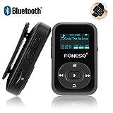 Reproductor de MP3 Bluetooth, Foneso Mini Sport MP3 8 GB con Clip, Reproducción de Música de 30 Horas, Grabación y Medios FM, Negro
