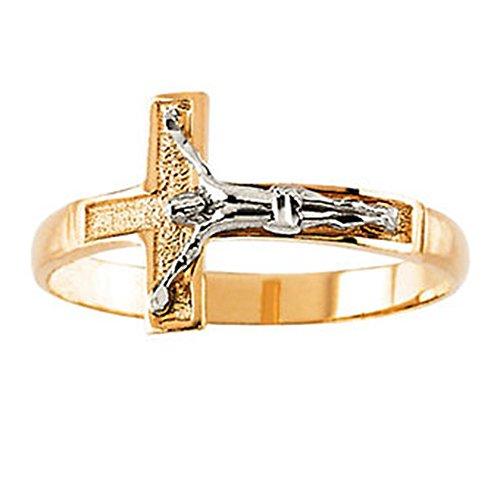 Icecarats designer di gioielli 14K giallo/bianco oro bicolore da uomo crocifisso anello taglia 10