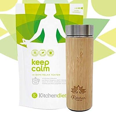 Thé Detox + Infuseur/Thermos en Bamboo - Cure Minceur - 14 Jours - 28 Infusettes - 2 Infusettes Par Jour - Keep Calm - Ingrédients 100% Naturels