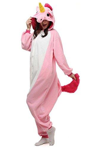 Pijamas Enteros Cosplay Adulto Ropa de Dormir Hombre Camisones Disfraces Carnaval Ropa Pijamas de Una Pieza Mujer Unicornio Rosa