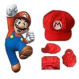 Isuper 1 stück Super Mario Hut Mario Mütze Klassische Cappy Kappe für Erwachsene und Kinder Kostüm für Halloween Party, rot