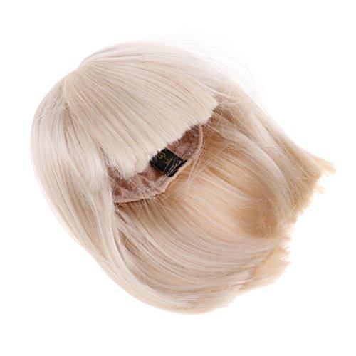 D DOLITY Mode Puppenperücken Gerade Perücke mit Pony Haarteil für 1/3 BJD Puppen DIY Herstellung und Reparatur - Gold