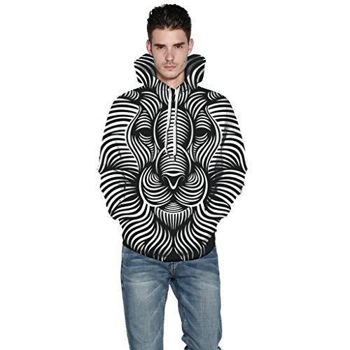Überprüfen Sie Die Muster Mens Kleid Shirt (BHYDRY Frauen Männer Herbst Winter 3D Druck Langarm Caps Sweatshirt Pullover Top(XXXXX-Large,Schwarz))