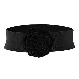 MUXXN Womens Retro Rose Stretch Waistband Flower Buckle Belts (Black S)