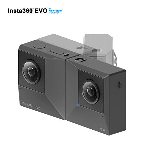 Insta360 EVO Action Camera 4K Ultra HD Cam FlowState Stabilisierung - 360 Grad 3D Action Sport Kamera Cam - kompatibel mit Apple iPhone und Android - 5,7k Video Auflösung - 18 MP - VR 3D Panorama - Boxen Kopf