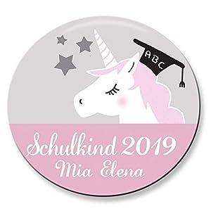 Polarkind Button Namenschild Anstecker Einhorn Schulkind 2019 mit Wunschname und Wunschgröße handmade 38mm 59mm Schultüte Füllung