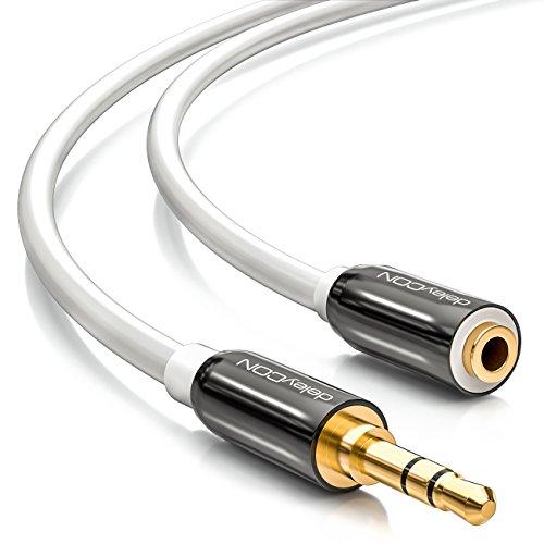 deleyCON 5m Stereo Audio Klinken Verlängerungskabel - 3,5mm Klinken Buchse zu 3,5mm Klinken Stecker - AUX Kabel Metallstecker - Weiß Weiß Stereo-audio