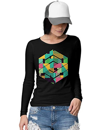 BLAK TEE Damen Colourful Abstract Hexagon Langarmshirt M -