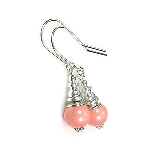 pâle Corail Rose Perle Boucles d'oreilles cristal de Swarovski Argent sterling oreille Fils Coffret cadeau par Diosa Jewellery