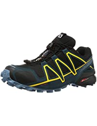 Salomon Men's Trail Running Shoes, Speedcross 4 GTX, Black (Black/Reflecting Pond/Spectra Yellow) , 10.5 UK