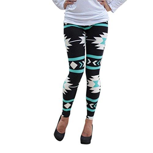 Internet Gamaschen der Frauen Dünne Geometric Print Stretchy Pants (EU38-L) (Frauen Skorts Baumwolle)