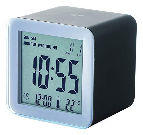 Lexon Clock Cube Abs Rubber Sensor Snooze - EL Light Wecker, Gummi, schwarz, 5.5x5.5x5.5 cm