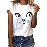 CUTUDE Chemisier Femme Manches Courtes T-Shirts Impression De Chat Tops Polo Gilet Tunic Chemise Tunique Fashion 2019