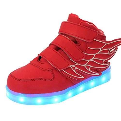 DoGeek -Led Basket Lumineuse Enfants Garçon Fille -Securité Mode Haut Dessus 7 Couleurs Clignotants -USB Rechargeable Rouge
