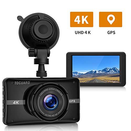 TOGUARD Dash Cam UHD 4K Telecamera per Auto con GPS Videoregistrator 3 '' LCD Obiettivo Grandangolare 170 °con Modalità parcheggio 24 ore, G-Sensor, Registrazione in loop, salvaschermo