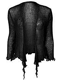687dc1a68e5439 New Womens Tie Up Crochet Shrug Ladies Cropped Bolero Cardigans Top Sizes