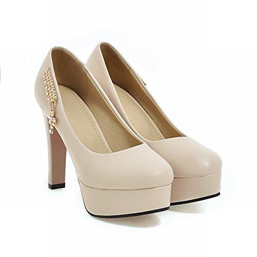 Mee Shoes Damen high heels mit Strass Plateau Pumps Aprikose