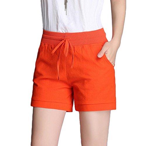 YiLianDa Womens Summer Linen Shorts Holiday Beach Soft Hotpants
