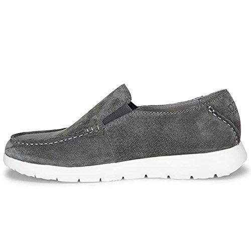OZZEG En cuir véritable bateau pont plat masculine chaussures mocassins Gris