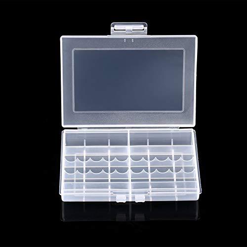 Transparenter Hartplastikkoffer LEISE 8002 Batteries Storage Case Holder Aufbewahrungsbox für 10 x AA- oder 14 x AAA-Batterien