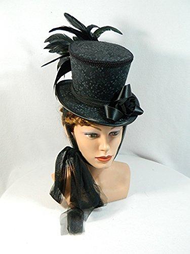 Midi Damen Zylinder schwarz grau Ranken Damenhut Gothic Steampunk Fascinator Headpiece