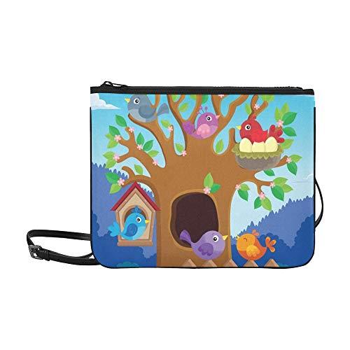 Tree Stylized Birds Theme Image 2 Benutzerdefinierte, hochwertige, schlanke Nylon-Handtasche Umhängetasche mit Umhängetasche