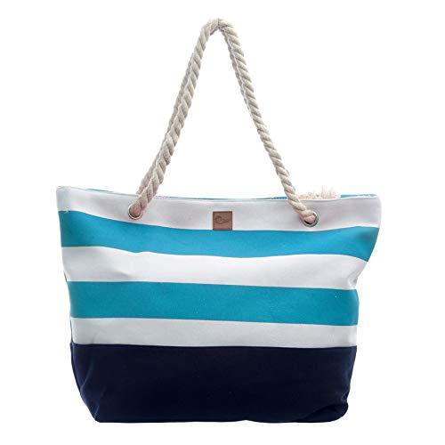 AQUAZON Stripes Grosse Strandtasche Shopper Ocean 54cm x 35cm hellblau Weiss - Ocean Beach Stripe