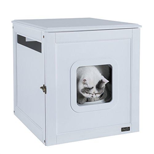 2 Türen Mdf-gehäuse (Petsfit Montage geruchlos Night Stand Pet House/Katzentoilette Möbel mit Verriegelung Halten 50,8x 61x 53,3cm, 20x24x21, Weiß)