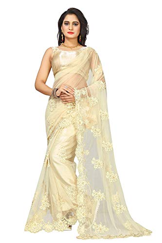 Surat Creations Designer Off-White/Cream Net Saree with Embroidery And Pearl Work