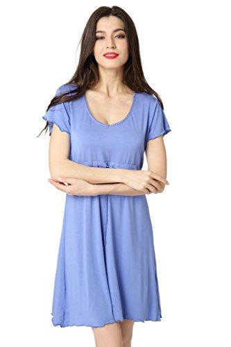 9950d11086d1e8 Aibrou Damen Schlafrock Modal Nachthemd lose Negligee Nachtwäsche kurzarm  Sleepshirt mit einstellbarem Gürtel Freizeitanzug Umstandskleidung Reine