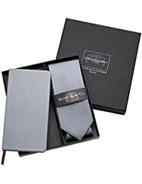 Savile Row Men's Grey White Flower Pattern Silk Tie And Self Covered Notebook Set