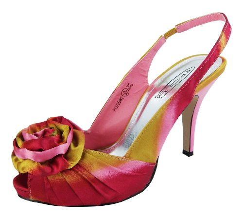 Ladies Pink & Yellow, Purple & Silver Satin Flowers Slingbacks Wedding Shoes Bridesmaids Heels=Pink UK 4