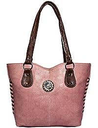 The Golden City Designer Pink And Brown Handbag
