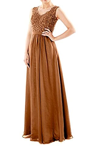 MACloth Women V Neck Lace Chiffon Long Prom Dresses Formal Party Evening Gown (32, Brown)
