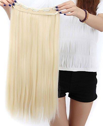 S-noilite® Clip in Extensions Halbperücke Haarverlängerung Haarverdichtung Haarteil 3/4 Perücke Glatt One Piece(58cm,Bleichmittel Blond)