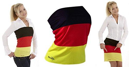 Gr. L TOP & ROCK Deutschland Farben mit 10% Elastan Damen Trikot Fussball Olympia Fanartikel Fan WM Shirt Fahne KBV (Fahne Rock)