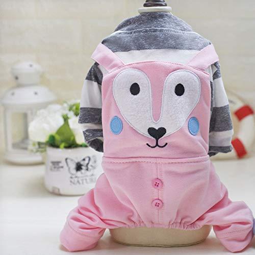 CHOULI Schöne Fox Style Four Legs Baumwolle Pet Dogs Bib Coat Overalls Kleidung Bekleidung rosa XL (Bib Overalls Pink)