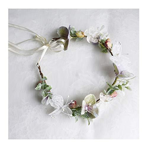 CRR Blumenkranz handgefertigt Corolla Stirnband böhmischen Kopfschmuck koreanische Braut weißes Garn Haarschmuck Foto Urlaub am Meer Schmuck -