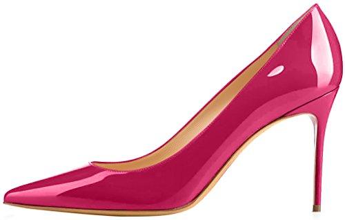 ELEHOT Femme 8.5cm Taille EU 34-46 Toyclock Aiguille 8.5CM Synthétique Escarpins rouge Peach