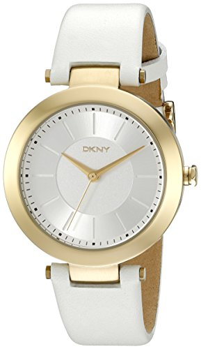 DKNY ny2295 36mm Gold Plated Stainless Steel Case White Calfskin Mineral Women's Watch