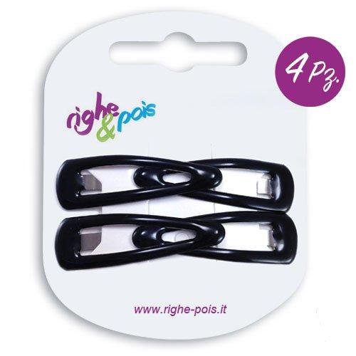 104-001 - Lot de 4 barrettes à cheveux clic-clac, en caoutchouc, 4 cm - Noir