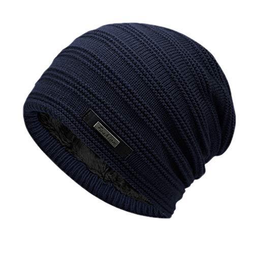 EJKDF Doppelschicht Beanie Mütze Winter Warme Männliche Strickmützen Outdoor Sports Ski Cap Weibliche Motorhaube Stocking Hats Navy Blue