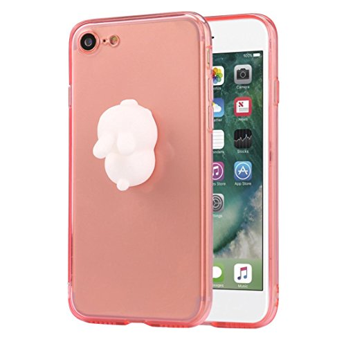 Cover per iPhone 7, Tpulling Custodia per iPhone 7 Case Cover Custodia trasparente trasparente del silicone molle animale 3D per IPhone 7 4.7 pollici (Gray) Pink